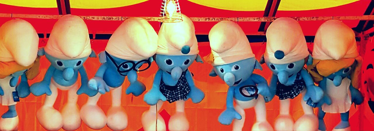 Carnival Prizes Carnival Toy Hanging Smur Hanging Smurfs Large Group Of Objects Market Stall Multi Colored Smurf Stuffed Toy The Smurfs