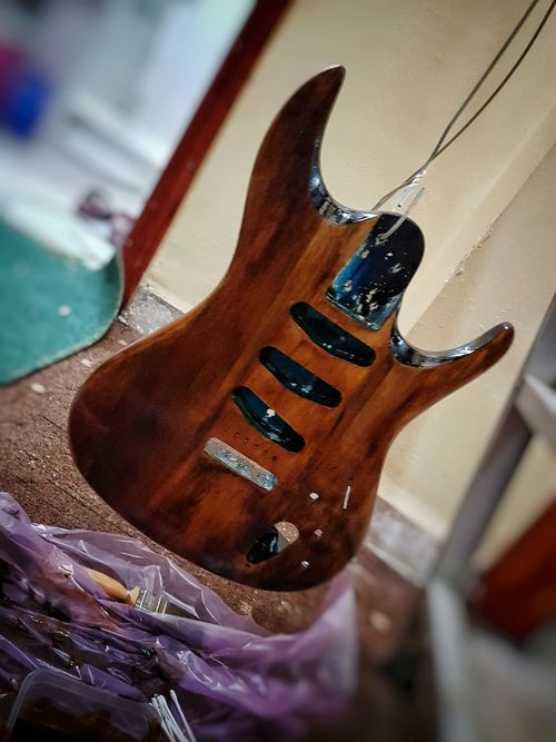 Guitar Musical Instrument Electric Guitar Musical Instrument String No People Rock Music Paint Redesign Close-up Wood