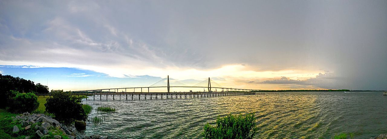 Bridge - Man Made Structure Connection Sky Suspension Bridge Travel Destinations Water Outdoors Transportation Cloud - Sky Sea Scenics No People Nature Tree Landscape Day Beauty In Nature Charleston SC Ravenal Bridge Harbor Harbour View Shipping Docks Eyeem Collection