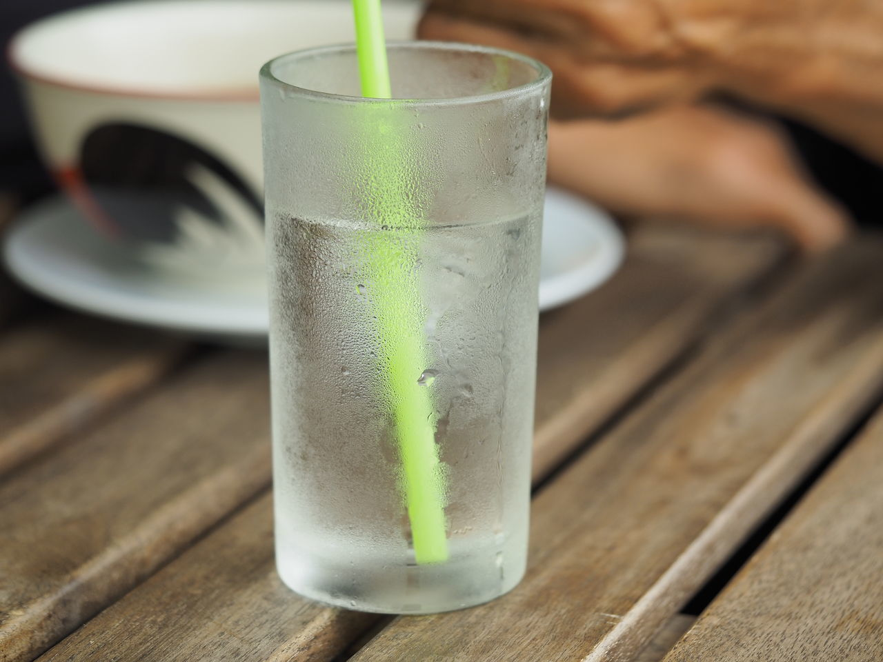 drink, refreshment, table, drinking glass, drinking straw, food and drink, focus on foreground, close-up, freshness, wood - material, indoors, green color, no people, healthy eating, day