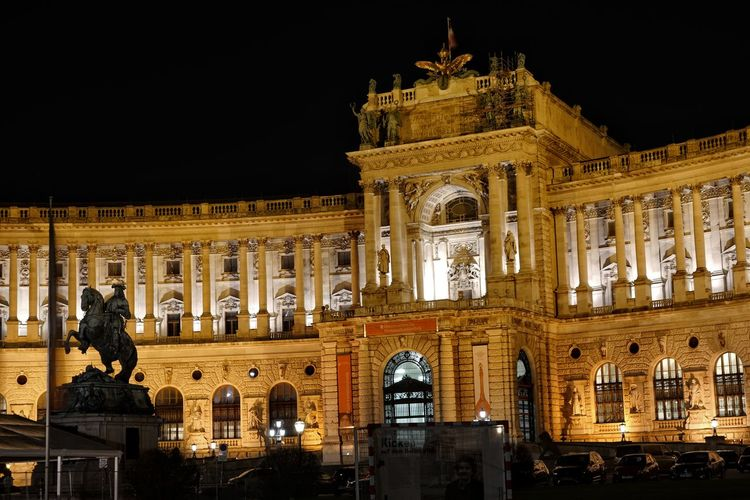 Vienna Hofburg at night Architecture Building Exterior Built Structure City Cultures Government Hofburg Illuminated Night No People Outdoors Politics And Government Sculpture Statue Tourism Travel Destinations Vienna