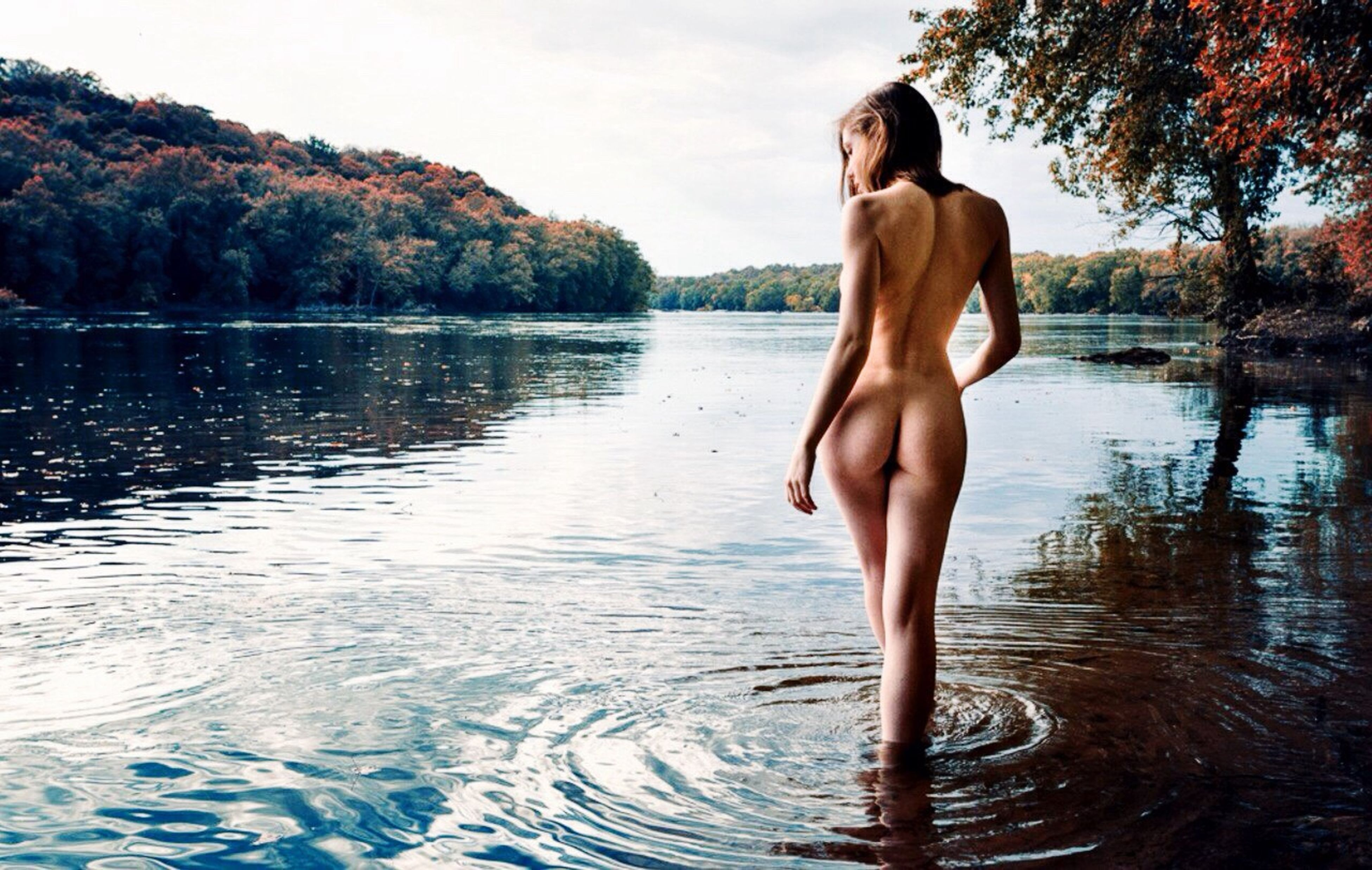 water, young adult, lifestyles, leisure activity, lake, tree, standing, waterfront, full length, person, young women, vacations, front view, nature, reflection, bikini, rippled, tranquility