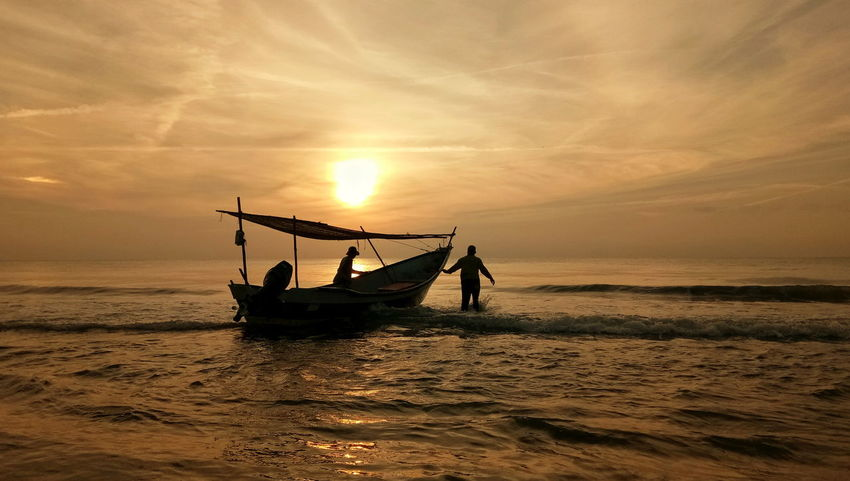 Silhouette Sea Water Sky Fisherman Boats And Sea Outdoors Sunrise Horizon Over Water Landscape