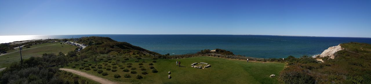View from Gay Head Light. Panoramic View Horizon Over Water Sea Blue Tranquil Scene Scenics Water Tranquility Clear Sky Nature Beach Non-urban Scene Ocean Green Color Wide Calm Outdoors Cliff Beauty In Nature Coastline Paths EyeEm Best Shots - Nature Martha's Vineyard S6