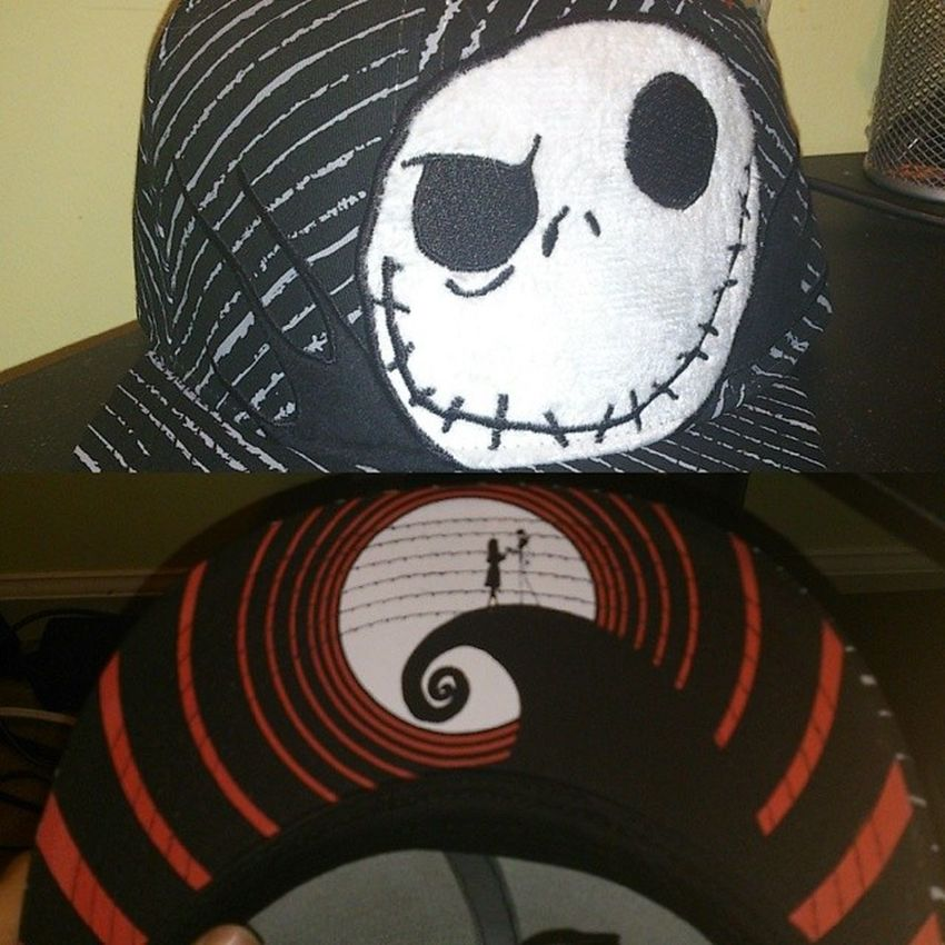 A better look at the hat. Front and then underside of the bill. Nightmarebeforechristmas Hat Cap Flatbill Fitted JackSkellington Sally Disney Timburton Apparel Accessory MOVIE Merchandise