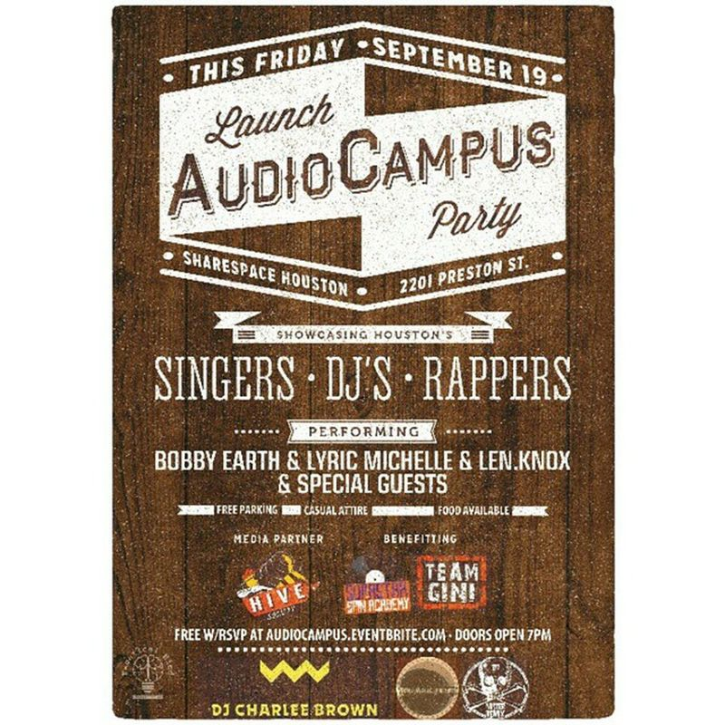 Flyer design for @thehivesociety's next event. [Graphicdesign Graphicdesigner Printdesign Photoshop wacom creative houstondesigner] This Friday, September 19th at 7 pm, come join us for an amazing night of lite bites, cocktails and live entertainment at @ShareSpace for the launch party of @AudioCampus, the new digital platform and marketplace for DJ's! The party will feature some of the best Houston DJs such as @DJCharleeBrown, @MisterRemix and @NuAncientRasan. Our own Bee @iamlyric will be performing, as well as @thebobbyearth and @lenknox! Proceeds/donations from the night will benefit @IamDJSupaStar's Supastar Spin Academy and local non-profit @TeamGini. It's gonna be a great night! Find the RSVP link to the event and learn about how AudioCampus.co started on HiveSociety.com. Tag your DJ and Artist friends, they won't want to miss this! audiocampus audiocampuslaunchparty audiocampushouston sharespace sharespacehouston thingstodoinhouston houstonevents houstonmusic houstondj houstondjs houstonconcert houstonparty thisishouston houston htx htown supastarspinacademy teamgini houstoncharity houstonphilanthropy hivelife
