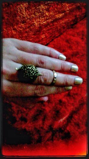 Orange Hand Gold Nails Lefthand