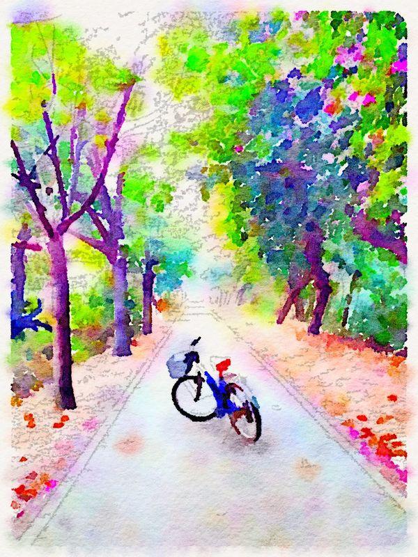 腳踏車 Enjoying Life Art Watercolor On The Way To