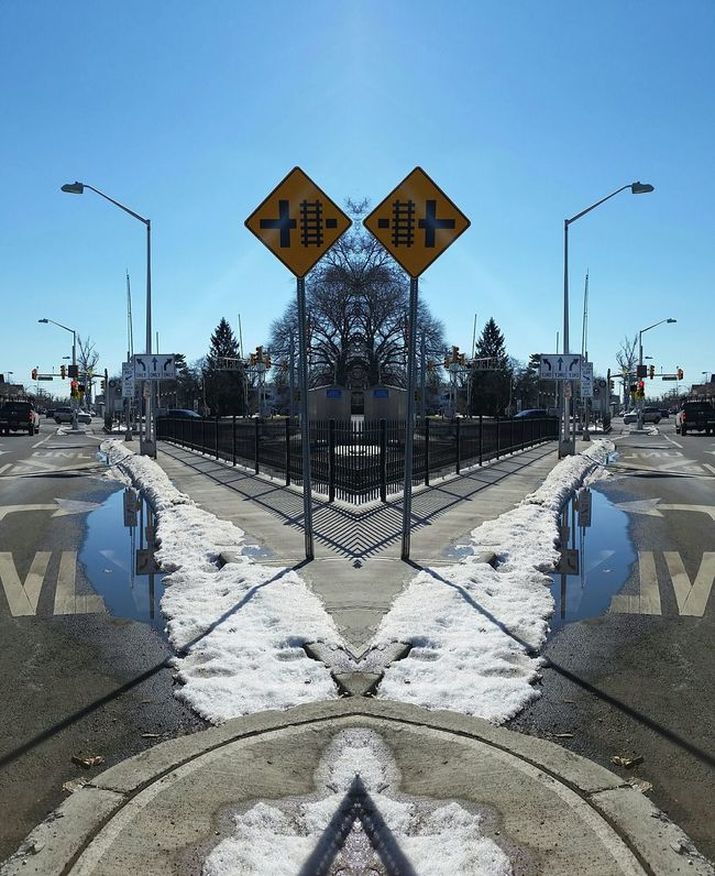 Hanging Out Taking Photos Check This Out Enjoying Life Not Instagram Showcase: February Mirror Picture Mirror Image Mirror Effect Westwood Westwood, Nj Railroad Railway Railroad Track Train Train Station Train Tracks