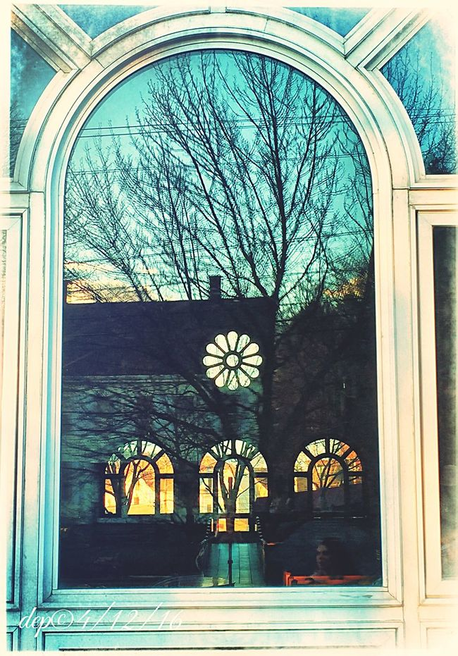Not me in the corner Windowreflections Church Window Apparition Ispywithmylittleeye Sunset Silhouettes Check This Out Ghostly Dep©16
