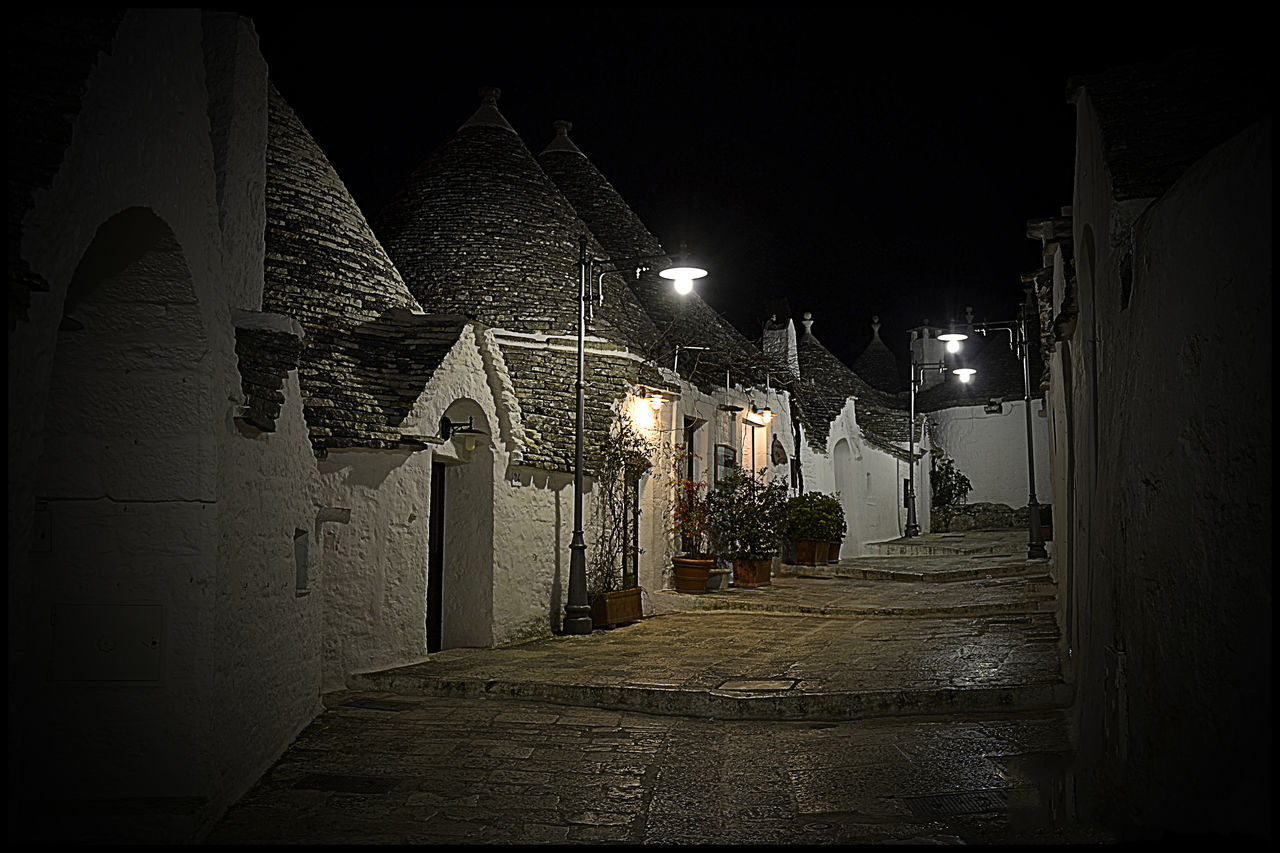 Alberobello - Puglia Architecture Light And Shadow Night Street Photography Nightphotography Puglia South Italy Streetphotography Suggestive Trulli Houses Trullo Di Albero Bello