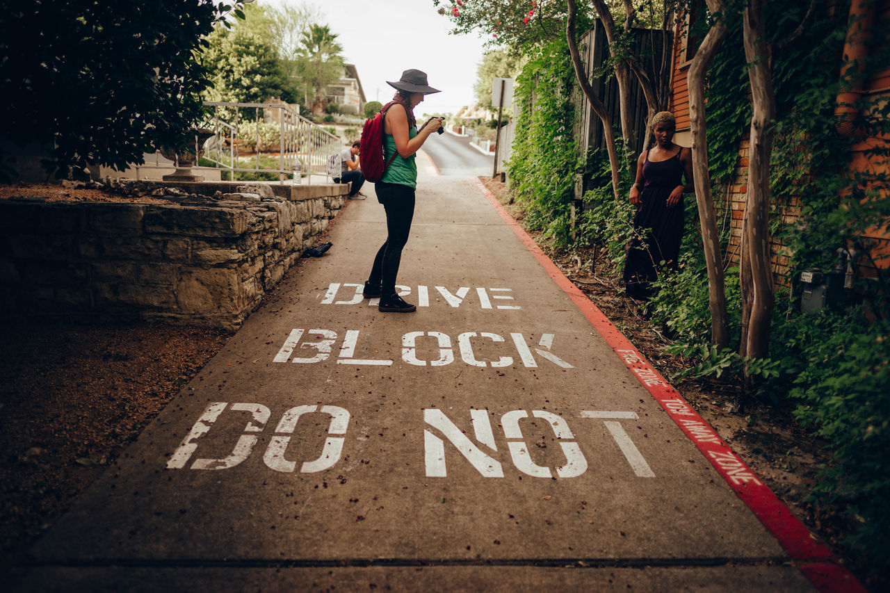 DO NOT BLOCK DRIVE. One Person Communication People Tree The Way Forward Day Outdoors Text My Year My View Do Not Block Drive Way Nature Road BTS