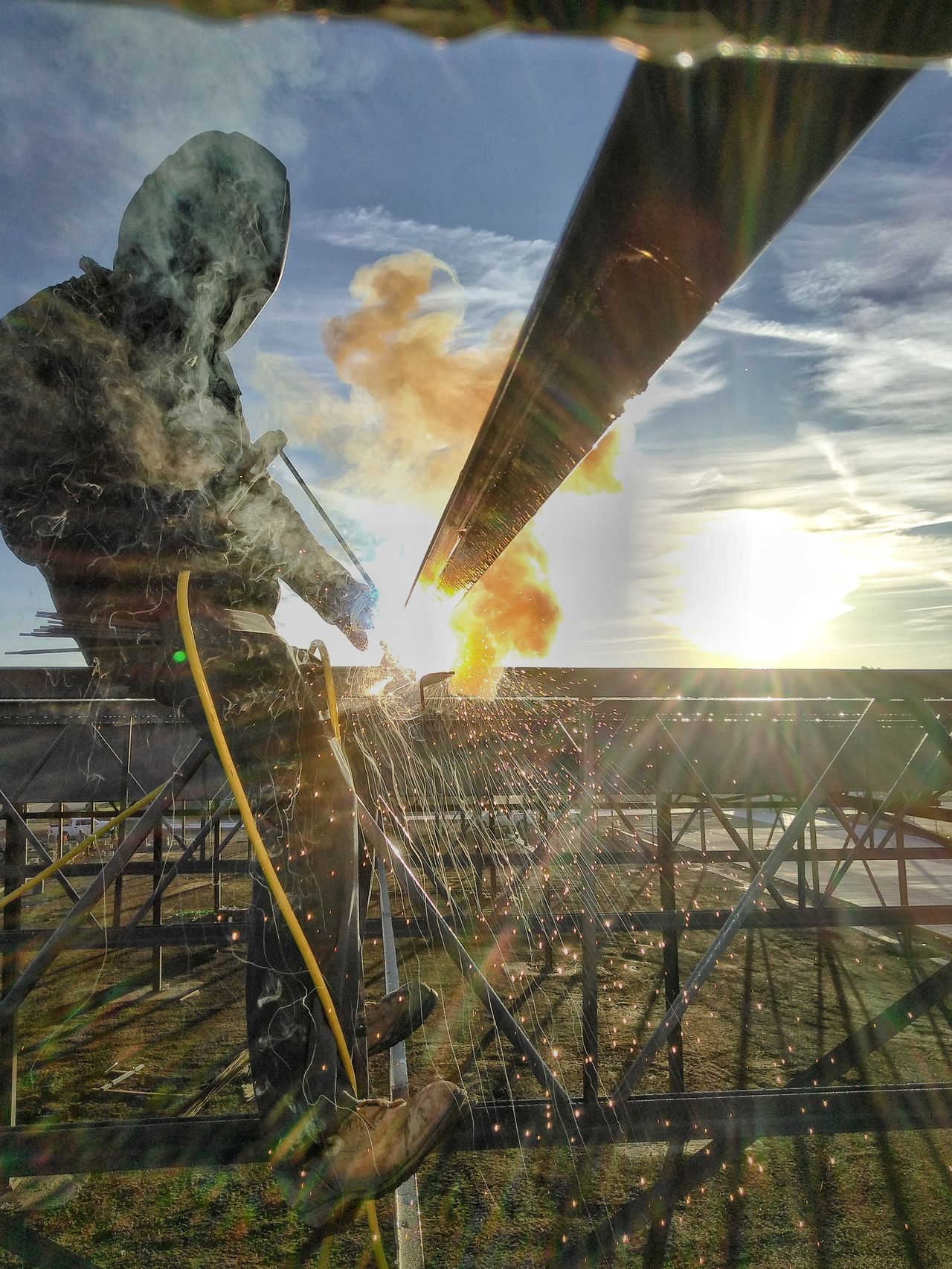 Water Cloud - Sky Outdoors Nature Workplace Welding One Person Action Shot  Sparks Fly Iron Worker Michiganders Hdr_Collection