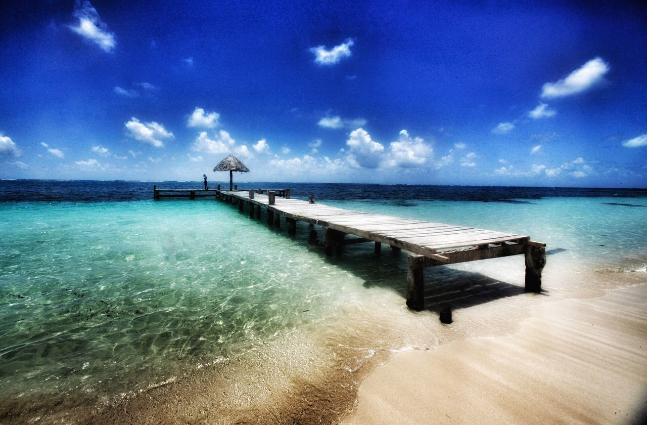 Wooden Bridge, Yucatan, México Sea Sky Beach Scenics Horizon Over Water Beauty In Nature Sand Nature Water Tranquility Tranquil Scene Cloud - Sky Outdoors No People Vacations Day Travel Travelphotography Travel Desinations Travel Photography Mexico Yúcatan Yucatan Mexico Yucatán, México