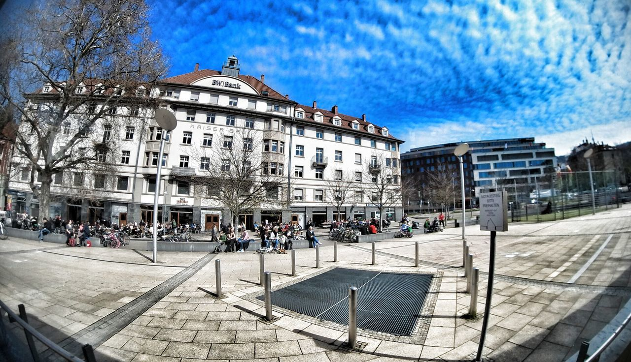 Building Exterior Architecture City Sky Built Structure Travel Destinations Travel Outdoors City Life Large Group Of People Day Cloud - Sky Tree Fish-eye Lens People Taking Photos EyeEm Stuttgartmobilephotographers 0711 Eyeem0711 First Eyeem Photo From My Point Of View 180° Architecture Places