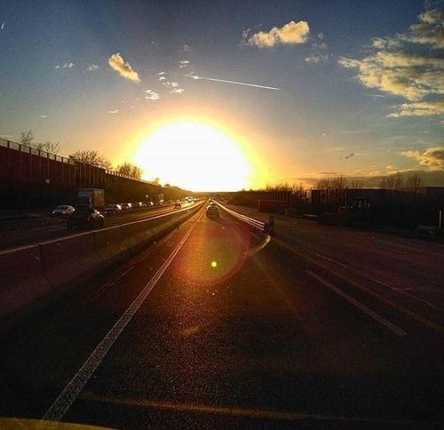 A7 Autobahn Highway Sun Sunset Skyisburning Sky Photoarena_sunset Heaven Cloud Clouds Roadtrip Road Driving Drivinghome Drive Street