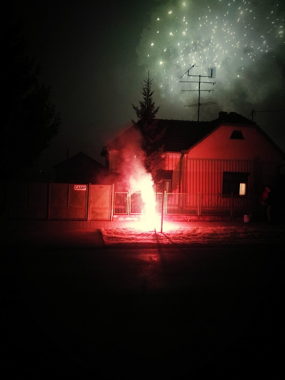 night, illuminated, built structure, building exterior, architecture, house, danger, sky, no people, burning, flame, outdoors, tree, nature