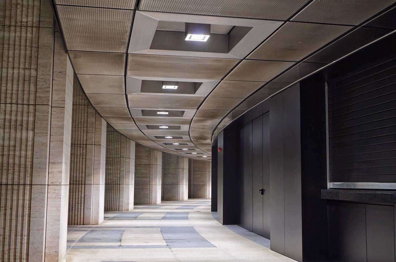Architecture No People Indoors  Door Built Structure Perspective Fckrasnodar Modern Architecture Lamps Stadium Warehouse Architecture Interior Krasnodar