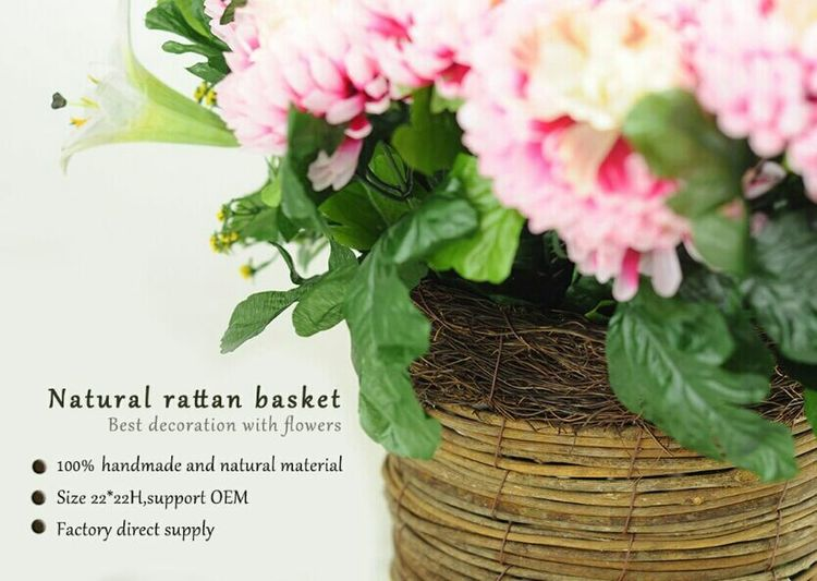 Natural material and 100% handmade. Flower Basket Rattan Planter Flower Photography