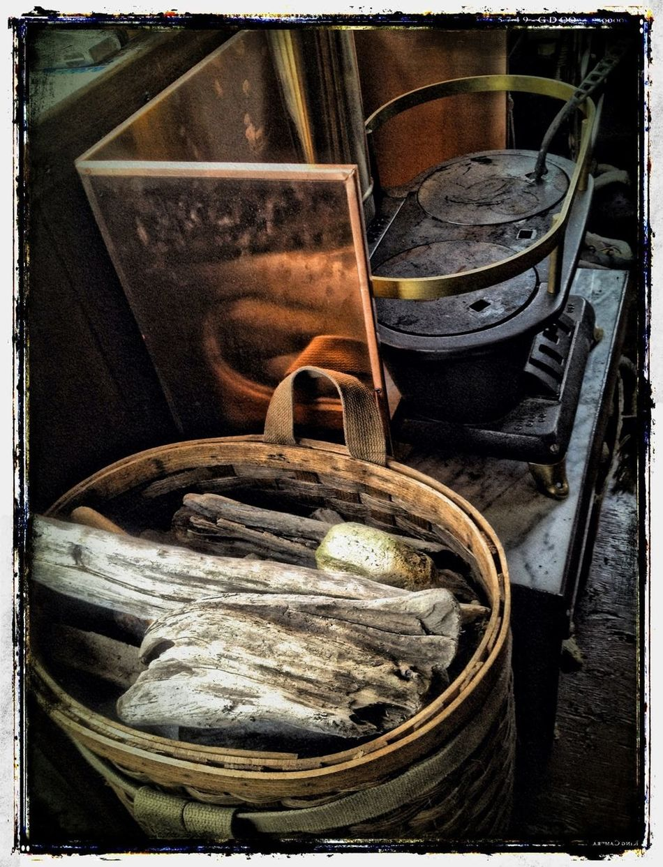 A basket of driftwood collected on Ediz Hook Whale Song
