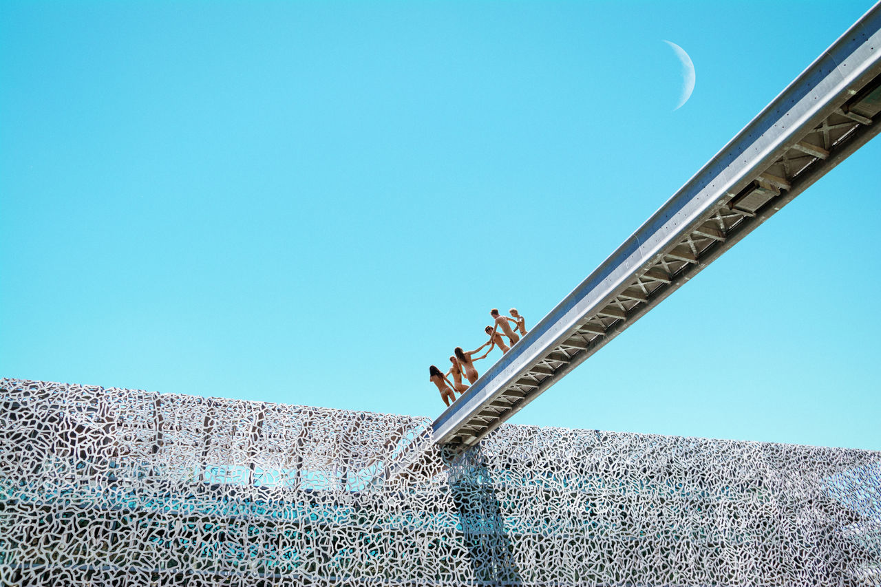 Celebration Blue Sky Bridge Construction Cyan Dancing Linas Was Here Metal Moon Roof Surreal Teal Urban Youth