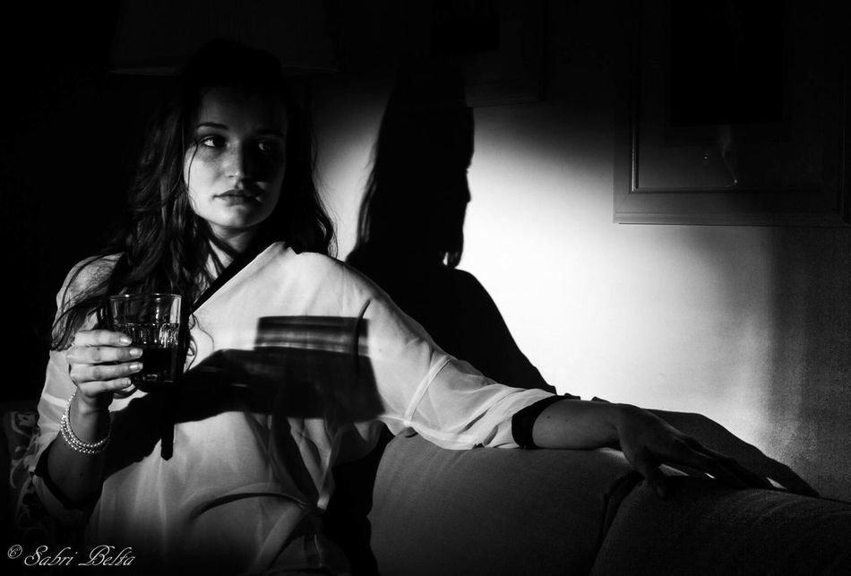 Women Alcohol Young Women Young Adult People Lowkey  Femininity Speedlite Filmnoir Film Noir Style Sabribenltaiefphotography Blackandwhite Black And White Beauty Portrait Model Portraits Munich Glamour