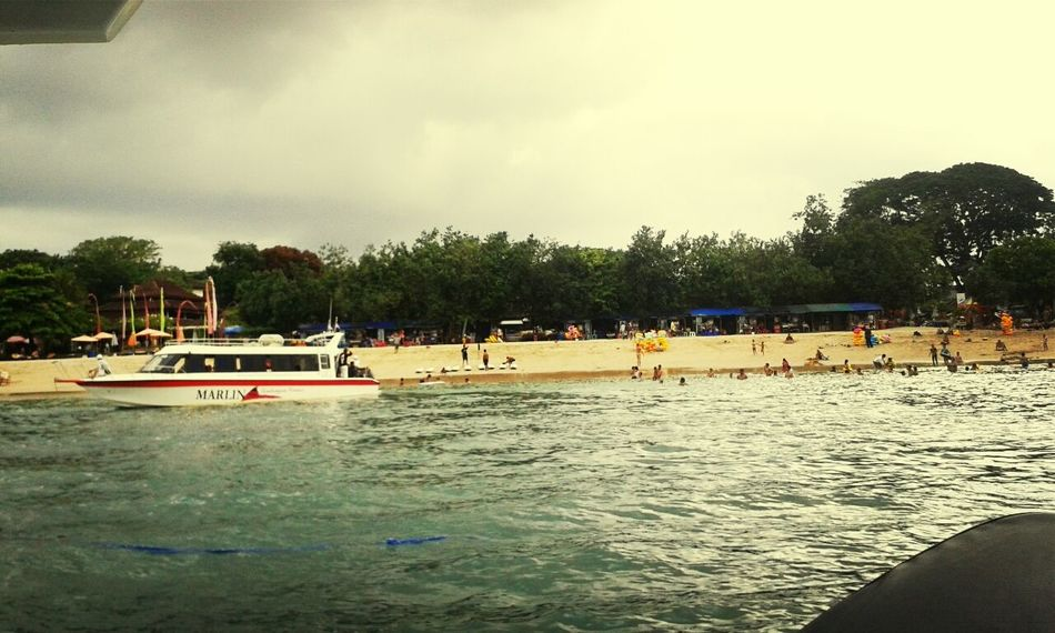 On The Boat at sanur beach Cloudy Sky Holiday Landscape