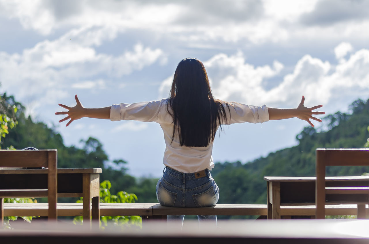 Beautiful stock photos of thailand, Arms Outstretched, Bench, Brown Hair, Carefree