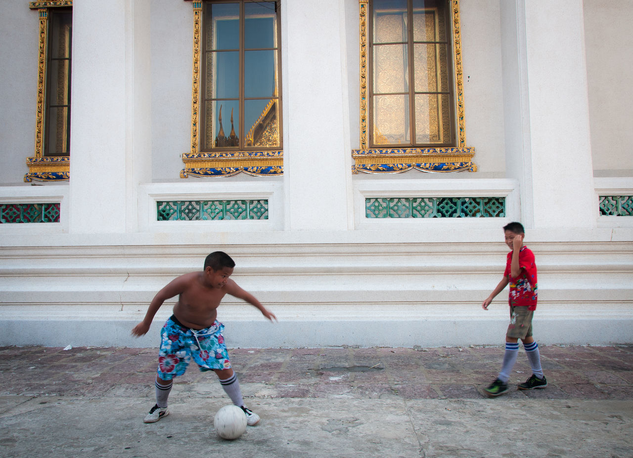 Beautiful stock photos of fußball, two people, togetherness, childhood, full length