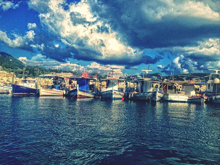 Greece Sea Clouds Cloudporn Boats⛵️ Colors Colours Colorful :-)