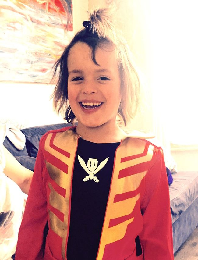 Young boy dressed as Power Ranger with long hair tied up like a samurai Boy 5 Years Old Power Rangers Color Portrait Portrait Portrait Of A Boy Happy Smile Smiling
