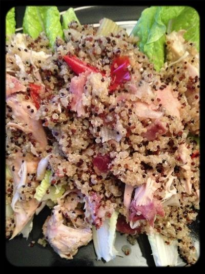 #tweetwhatyoueat quinoa, chicken, bacon spring onions