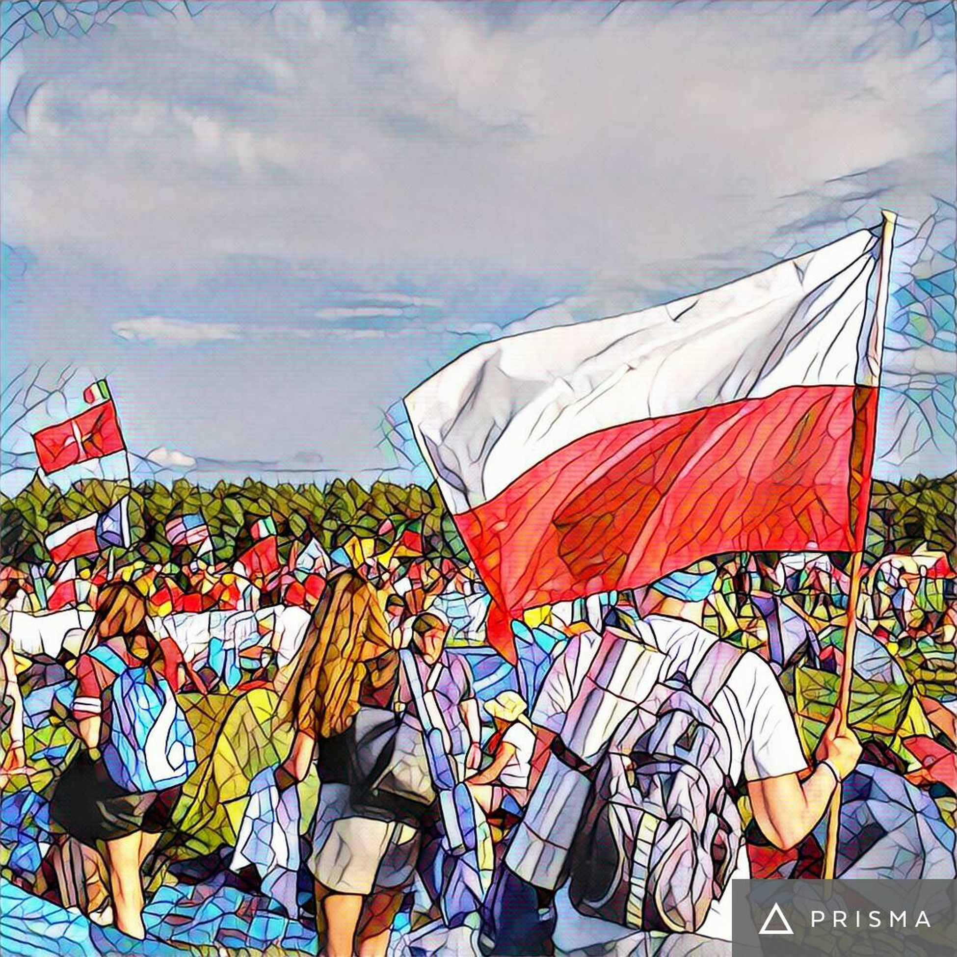 Guess, who is back 😏 Photo from Worldyouthday WYD2016 Poland Kraków, Poland Poland Prisma Misericordia Flag Patriotism Multi Colored People Day Event Unity Cometogheter