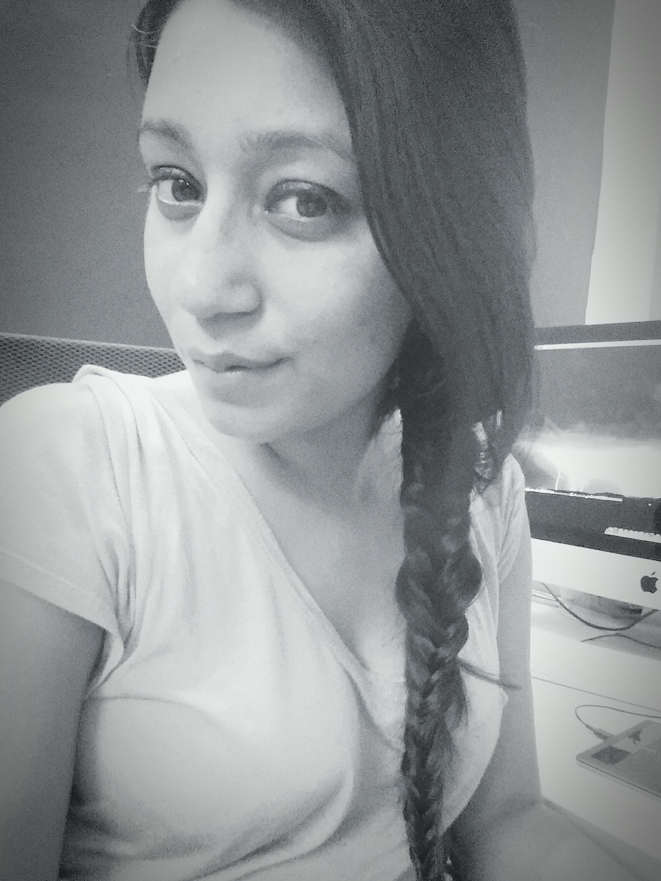 Monochrome Blackandwhite tried making a Fishtail Braid . quite messy. Uhh!