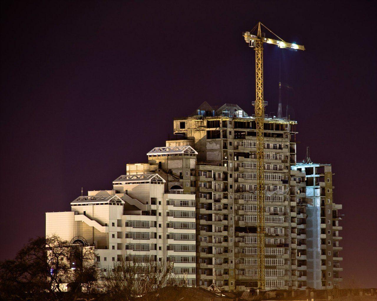 Construction Construction Work TOWNSCAPE Light Town Buildings Architecture дом Чижа Belarus Minsk Bulding Night