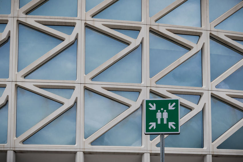 Abstract Architecture Assembly Assembly Point Backgrounds Close-up Design Detail Evacuation Eye4photography  Full Frame Geometric Shape Grid Low Angle View Modern No People Pattern Repetition Shape Sign Square Shape Symbol Urban Geometry The Graphic City