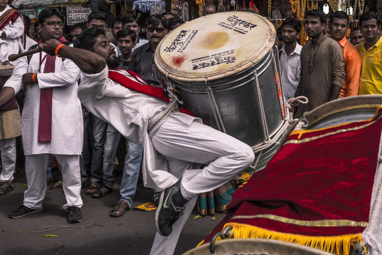 Chance Encounters Dhol. Pune, India. Musical Instrument Uniform Men Musical Equipment Outdoors Day People Adults Only Adult
