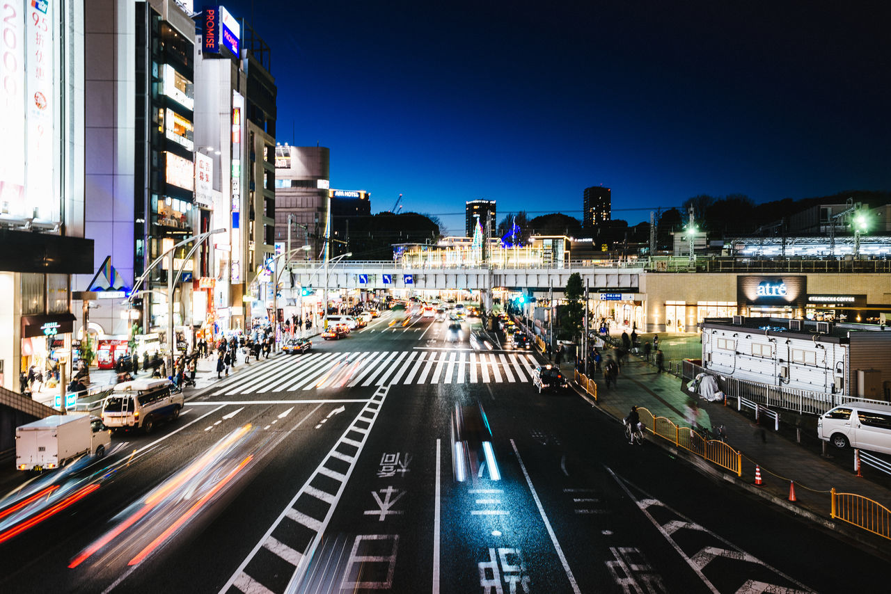 Night views from Ueno Architecture Building Exterior Built Structure City City Life Cityscape Clear Sky Illuminated Light Trail Motion Night Nightlife No People Outdoors Road Sky Speed Transportation