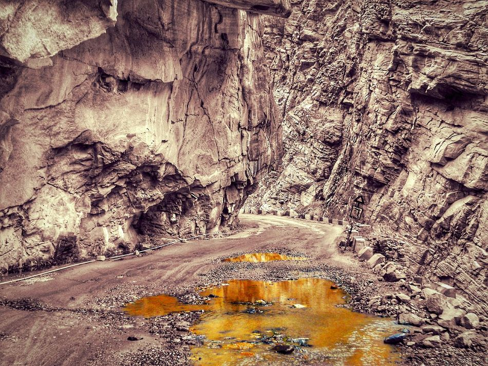 Day Outdoors Full Frame No People Backgrounds Nature Road Potholes Rocky Rocks Mountains Stagnant Water Isolated Color Pink Yellow Color Break The Mold EyeEmNewHere India