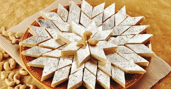 Holiday Desserts hmm....tastiest of the tastiest sweet of India ....loved by everyone in india. Kajukatli or Kaju Barfi .....made of Dates means Kaju ...i just love the sweet