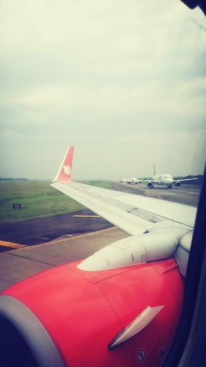 Aircraft lined up for take-off