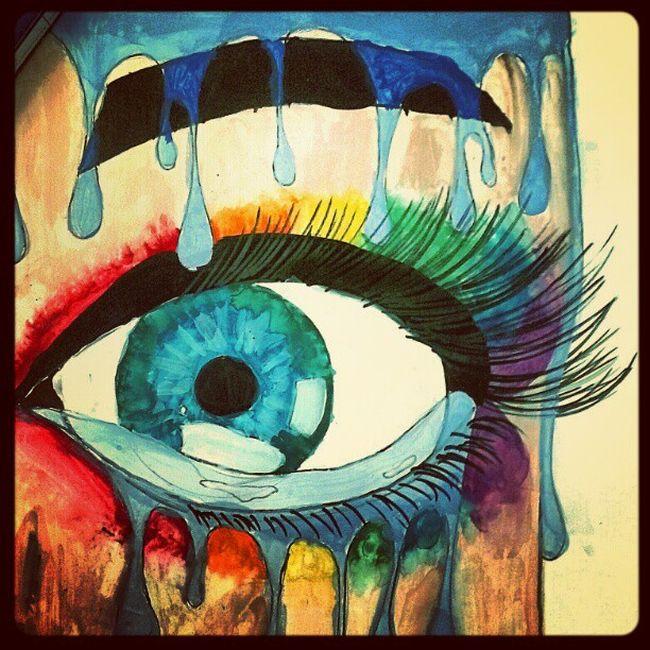 Painting Paint Splash Of Colour Rainbow Chick Makeup Style Drawing Art Eyes Eye Bright Gay Blue Green Red Blue Gayness Pride Proud Instahub Instalike Follow4follow