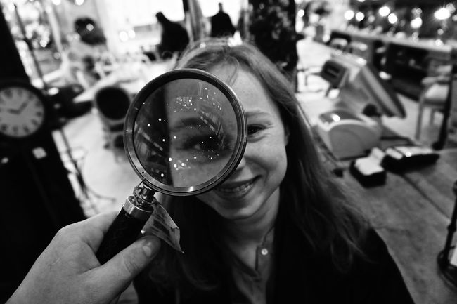 Antique Shop Bigeyes Girl Happiness Magnifying Glass Noiretblanc Reflection
