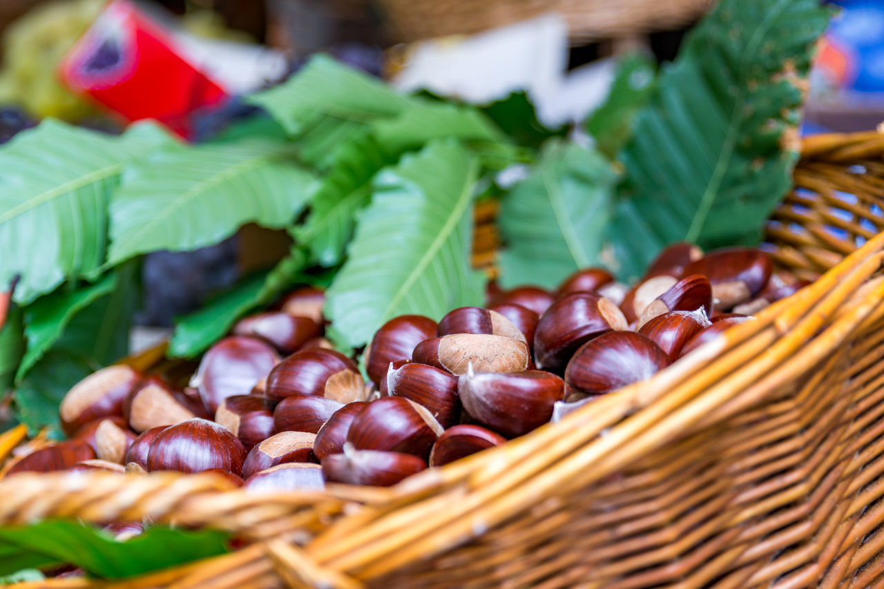 chestnuts Basket Beautifully Organized Chestnuts Chiavenna Choice Close-up Colorful Food For Sale Fresh Fresh Produce Freshness Freshness Healthy Eating Italy Large Group Of Objects Leaf Leafs Market Market Market Stall Vegetable Exploring Style My Year My View