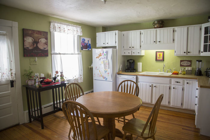 A country kitchen layout with dining table. Chef Cooking Country Kitchen Dining Table Home Cooking Kitchen Kitchen Table No People Nobody