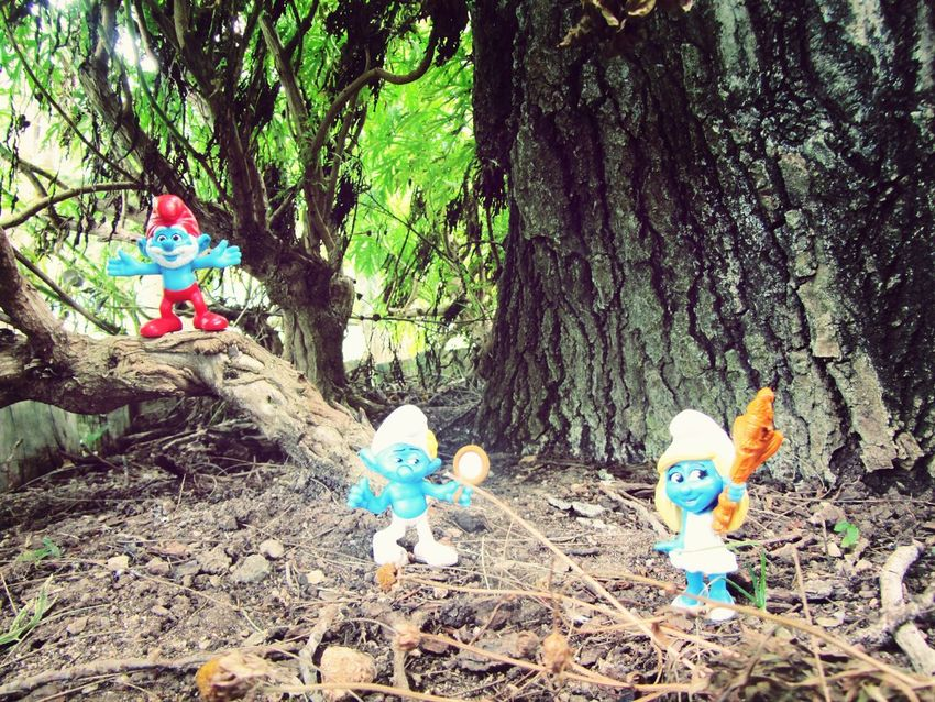 The Smurf on the Park.. The Smurfs Spotting Smurfs Artistic Photo Eye For Photography Grass Toy Ground Level View Ground Level Day Toys In Nature Toys Park Nature Smurfs Little Toy Trees Trees And Nature Leafs Toy Smurfs On Tree