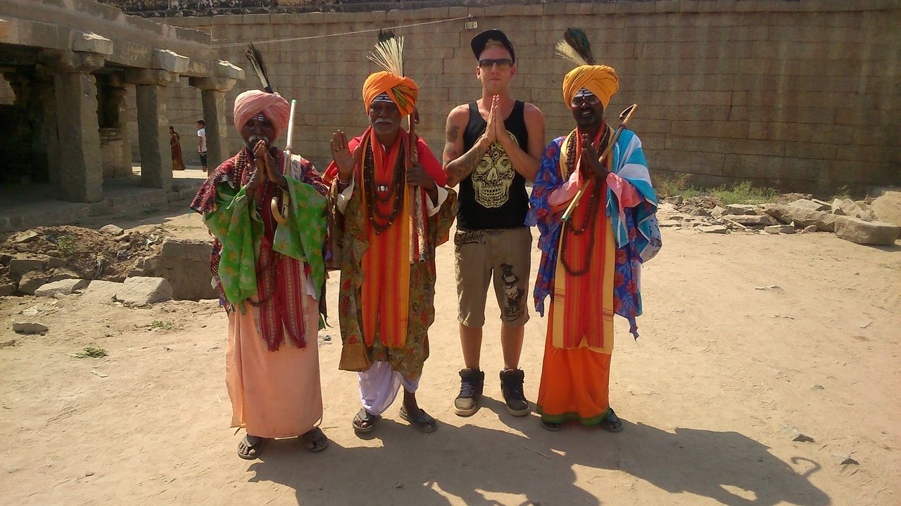 Holy India Adult Beauty In Nature Colourful Culture Friendship Full Length Happy Happy People Head Dress Headwear Holy Men India Indian Culture  Men New And Different Orange Outdoors People Religion Sand Temple Traditional Clothing
