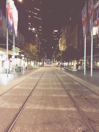 Walk This Way Walking Around Night Melbourne CBD Tram Empty City