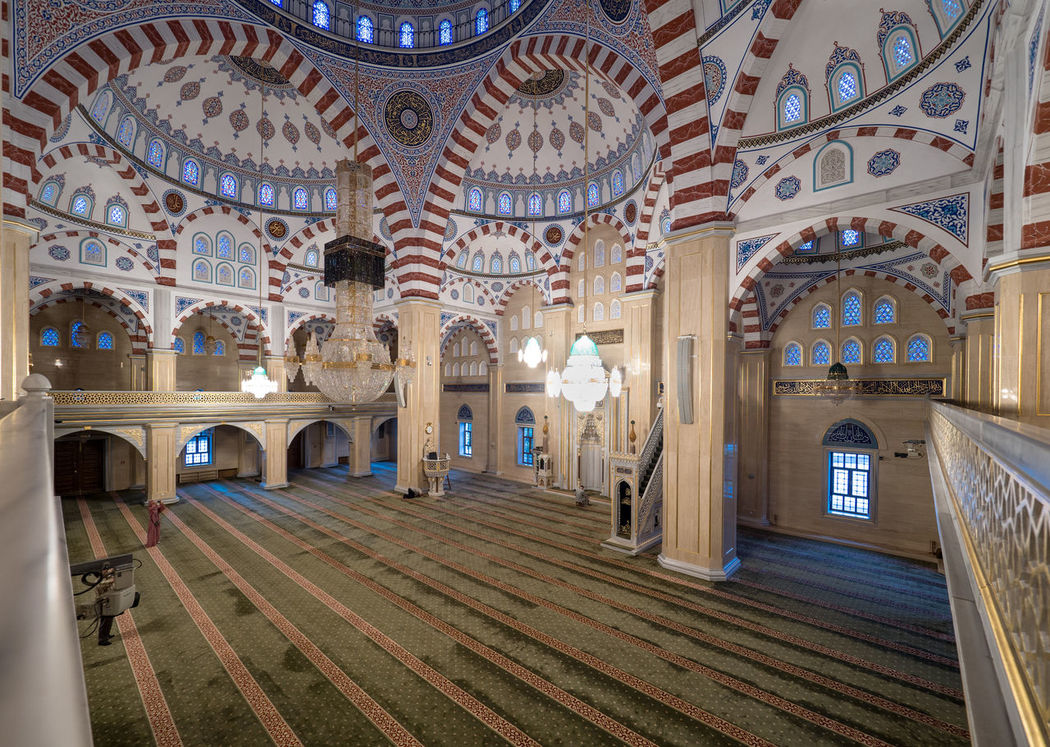 Russia, Chechnya, Chechen Republic, Grozny, mosque, mosque Heart of Chechnya, interior, architecture Chechen Republic Grozny City Russia Arch Architectural Column Architecture Built Structure Chechnya Day Dome Grozny History Indoors  Mosque Mosque Heart Of Chechnya, No People Travel Destinations