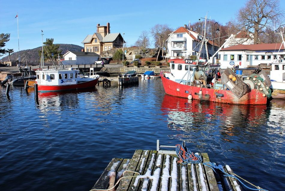 Drøbak Oslofjord Norway Harbour Pier Boats Outdoors Sea Scenics Harbor View Travel Destinations Sea_collection Reflection Day Building Exterior Architecture Sky Reflection Fishing Boat